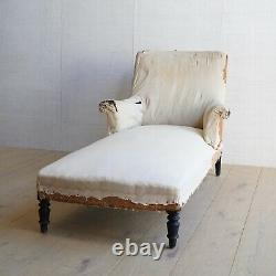 Vintage Antique Napoleon III French Square Back Chaise Longue Victorian