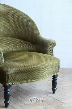 Vintage Antique Napoleon III Olive French Tub Arm Chair Victorian