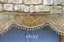 Vintage Antique old French 1850/1890 Victorian silk velvet Valance pelmet floral