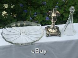 Vintage Epergne Centerpiece Glass Bowl Compote Vase Footed Silver Plated Base