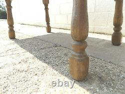 Vintage, French, 20thC, oak, large, extending, 2xleaf, table, dining table, splayed legs