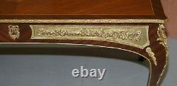 Vintage French Louis Gold Gilt Metal Marqurety Inlaid Coffee Cocktail Table