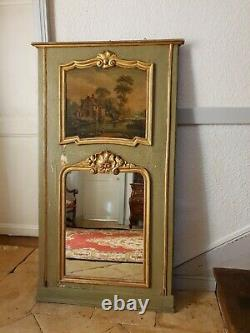 Vintage French Wall Mirror, Antique Large Gilt Trumeau Mirror