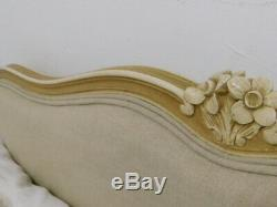 Vintage French bed with new upholstery and original base