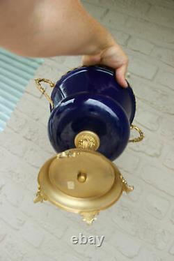 Vintage French cobalt blue porcelain centerpiece lidded bowl romantic victorian