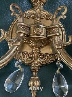 Vintage PAIR French Bronze Brass Crystal Victorian Wall Sconces 3 Pair Avail