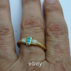 WIESE Antique Ring 18k Gold Turquoise French Victorian Sentimental Signed (6569)