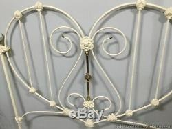 White Iron Headboard Full Size Pink Roses Porcelain End Finials Vintage Sweet