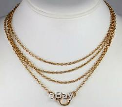 Wonderful Antique French Victorian 64'' Solid 18K Yellow Gold Necklace Chain 26g