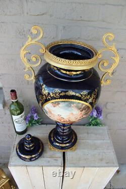 XL french Limoges cobalt porcelain Vase Romantic victorian scene
