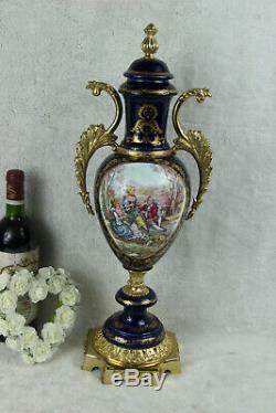 XL french Limoges porcelain romantic victorian scene Vase