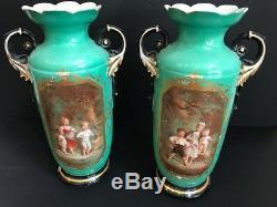 XL pair French antique vieux paris porcelain Vases romantic victorian