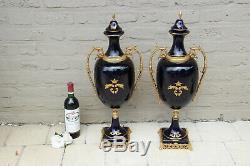 XXL PAIR French Limoges cobalt blue porcelain victorian scene vases
