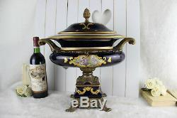 XXL french limoges marked porcelain centerpiece coupe lidded victorian scene